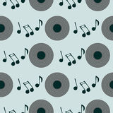 Seamless vector pattern, retro background with music plate and notes Stock Photography