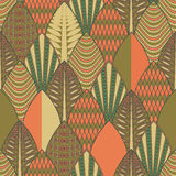 Seamless vector pattern with retro leaves in vintage style. Retro autumn background with leaves Stock Image