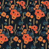 Seamless vector pattern with retro poppy and field flowers Royalty Free Stock Images
