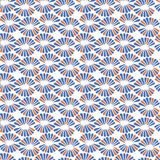 Seamless vector pattern with retro red and blue flowers. For fabric, textile, wrapping, craft Royalty Free Stock Photo