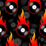 Seamless vector pattern with retro vintage vinyl record icons an. Seamless pattern with retro vintage vinyl record icons and flames. Vector illustration. Ideal Stock Photography