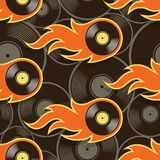 Seamless vector pattern with retro vintage vinyl record icons an. Seamless pattern with retro vintage vinyl record icons and flames. Vector illustration. Ideal Stock Photos