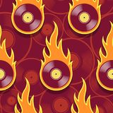 Seamless vector pattern with retro vintage vinyl record icons an. Seamless pattern with retro vintage vinyl record icons and flames. Vector illustration. Ideal Stock Image