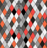 Seamless vector pattern with rhombuses and decorative ornaments. Abstract geometric composite background retro style Stock Photo