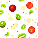 Seamless vector pattern of ripe apple and kiwi fruit. White background with delicious juicy kiwifruits  apples slice. Seamless vector pattern of ripe apple and Stock Images
