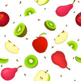 Seamless vector pattern of ripe apple kiwi pear fruit. White background with delicious juicy pears kiwifruit apples. Slice half. Vector fresh fruit Illustration Royalty Free Stock Photos