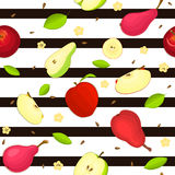 Seamless vector pattern of ripe apple and pear fruit. Striped background with delicious juicy pears  apples slice half Stock Photos