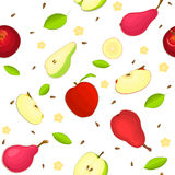 Seamless vector pattern of ripe apple and pear fruit. White background with delicious juicy pears  apples slice half. Seamless vector pattern of ripe apple and Stock Image