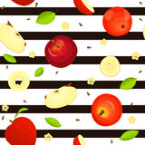 Seamless vector pattern of ripe fruit. Striped background with delicious juicy red apples, whole, slice, half, , leaves. Seamless vector pattern of ripe fruit Stock Image