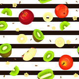 Seamless vector pattern of ripe kiwi apple fruit. Striped background with delicious juicy kiwifruit  slice half.  frui Stock Photography