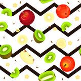 Seamless vector pattern of ripe kiwi apple fruit. Striped zig zag background. Seamless vector pattern of ripe kiwi apple fruit. Striped zig zag background with Stock Photography