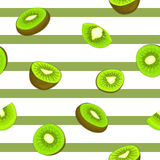 Seamless vector pattern of ripe kiwifruit. Striped background with delicious juicy green kiwi slice half  leaves.  fresh Royalty Free Stock Images