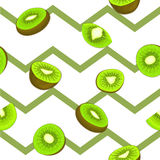 Seamless vector pattern of ripe kiwifruit. Striped zig zag background with delicious juicy green kiwi slice half leaves Stock Photo