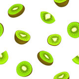 Seamless vector pattern of ripe kiwifruit. White background. With delicious juicy green kiwi slice, half. Vector fresh fruit Illustration for printing on fabric Royalty Free Stock Photos