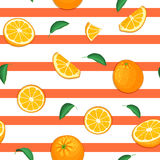 Seamless vector pattern of ripe orange fruit. Striped background with delicious juicy oranges slice half leaves. Vector. Fresh fruit Illustration for printing royalty free illustration