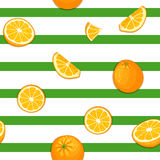 Seamless vector pattern of ripe orange fruit. Striped background with delicious juicy oranges slice half. Vector fresh. Fruit Illustration for printing on royalty free illustration