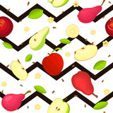 Seamless vector pattern of ripe pear, apple fruit. Striped zig zag background with delicious juicy slice half. fru. Seamless vector pattern of ripe pear, apple stock illustration