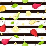 Seamless vector pattern of ripe pears fruit. Striped background with delicious juicy , whole, slice, half, , leaves Stock Photos