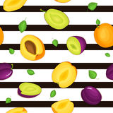 Seamless vector pattern of ripe plum apricot fruit. Striped background with delicious juicy plums apricots whole leaf Stock Photo
