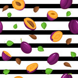 Seamless vector pattern of ripe plums fruit.  Stock Photography