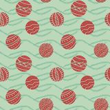 Seamless vector pattern with round red christmas ornaments royalty free illustration