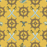 Seamless Vector Pattern with Sabers, Muskets and Retro Ship Steering Wheels Royalty Free Stock Photography