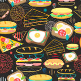 Seamless vector pattern sandwiches Royalty Free Stock Photography