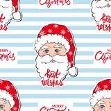 Seamless vector pattern with Santa Claus. Merry Christmas and Happy New Year background. For Christmas cards, banners, wrapping paper, tags and labels royalty free illustration