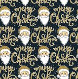 Seamless vector pattern with Santa Claus and Merry Christmas. Lettering design. Merry Christmas and Happy New Year background. Beautiful winter backdrop Royalty Free Stock Photography