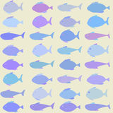 Seamless vector pattern with school of fish. Seamless blue colored vector pattern with school of fish on white background with clipping mask Stock Photo