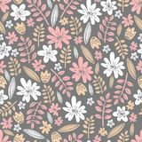 Seamless vector pattern. Scrapbooking, background, wrapping pape. R. Flowers and leaves Pastel colors vector illustration