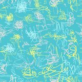 Seamless vector pattern. Scrapbooking, background, wrapping pape. R. Chaotic scribbles Kids drawn stock illustration