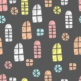 Seamless vector pattern. Scrapbooking, background, wrapping pape. R. Different windows Pastel colors stock illustration