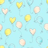 Seamless vector pattern. Scrapbooking, background, wrapping pape. R. Air balloons fly Pastel colors royalty free illustration