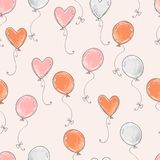 Seamless vector pattern. Scrapbooking, background, wrapping pape. R. Air balloons fly Pastel colors stock illustration