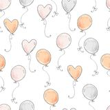 Seamless vector pattern. Scrapbooking, background, wrapping pape. R. Air balloons fly Pastel colors vector illustration