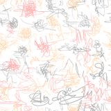 Seamless vector pattern. Scrapbooking, background, wrapping pape. R. Chaotic scribbles Kids drawn vector illustration
