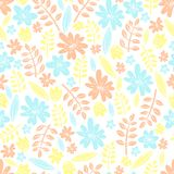 Seamless vector pattern. Scrapbooking, background, wrapping pape. R. Flowers and leaves Pastel colors stock illustration