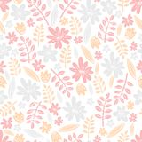 Seamless vector pattern. Scrapbooking, background, wrapping pape. R. Flowers and leaves Pastel colors royalty free illustration