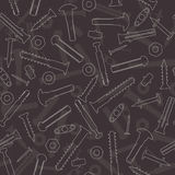 Seamless vector pattern with screws, hardware Stock Image