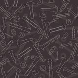 Seamless vector pattern with screws, hardware Royalty Free Stock Image
