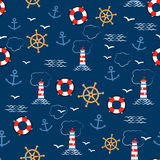 Seamless vector pattern with sea anchors, helms, lifebuoys, seagulls and lighthouses. Texture for wrapping paper, gifts Stock Photo