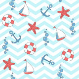 Seamless vector pattern with sea anchors, stars, sails and life buoys. Royalty Free Stock Photo
