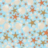 Seamless vector pattern of sea shells and starfish Royalty Free Stock Photos