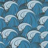 Seamless vector pattern with sea waves Stock Images