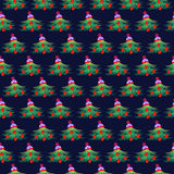 Seamless vector pattern. Seasonal winter symmetrical green background with fir-trees, decorated with Christmas toys and hat.  Stock Images
