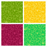 Seamless vector pattern set with colorful doodle juicy fruits.  Stock Photo