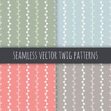 Seamless vector pattern set. White twigs on green blue pink grey background. Hand drawn abstract nature texture illustration Royalty Free Stock Photo