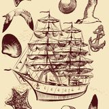 Seamless vector pattern with ship, shells and sea-gulls Stock Image
