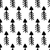 Seamless vector pattern. Simple black and white background with hand drawn arrows Stock Images